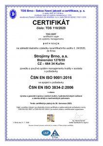 Certifikát ISO 9001 a 3834-2
