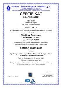 Certifikát ISO 45001:2018