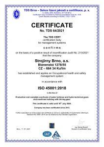 Certificate ISO 45001:2018 EN
